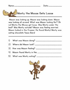 Interactive worksheet Reading Comprehension Monty the Moose
