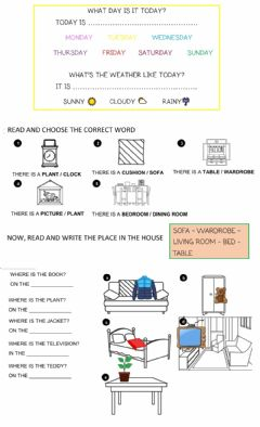 Interactive worksheet On in under there is there are