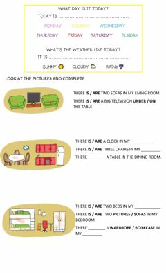 Interactive worksheet Preposition and there is there are