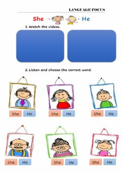 Interactive worksheet He - she