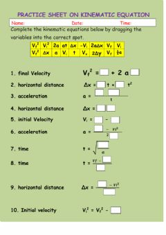 Interactive worksheet Practice Sheet on Kinematic Equations