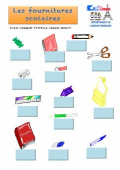 Interactive worksheet Les fournitures scolaires