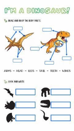 Interactive worksheet I'm a dinosaur (Body parts)