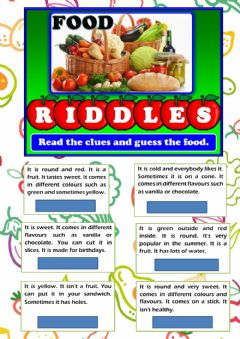 Ficha interactiva Food riddles