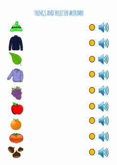 Interactive worksheet Things and fruit in autumn