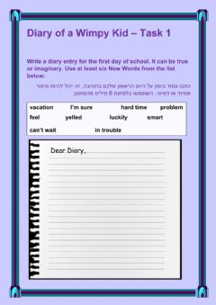 Interactive worksheet Diary of a Wimpy Kid Task 1