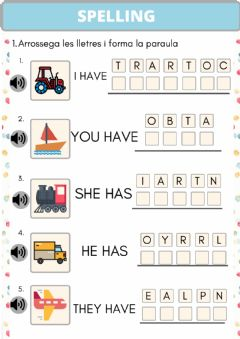 Interactive worksheet SPELLING Means of transport
