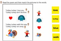 Interactive worksheet Thanksgiving poem and word match