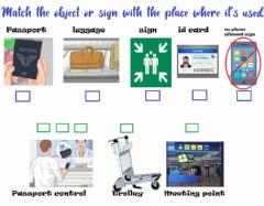 Interactive worksheet Going through Customs Objects and signs