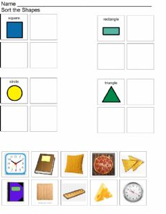 Interactive worksheet Shape Sort