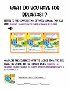 Interactive worksheet What do you have for breakfast?