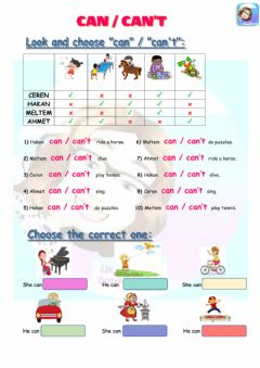 Interactive worksheet Grade 4-Unit 3-Can-Can't