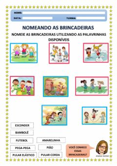 Interactive worksheet Nomeando as Brincadeiras