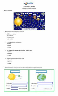 Interactive worksheet El sistemas solar
