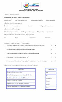 Interactive worksheet El universo