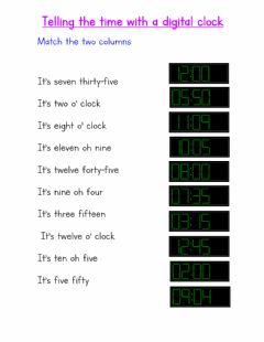 Interactive worksheet Telling the time with a digital clock