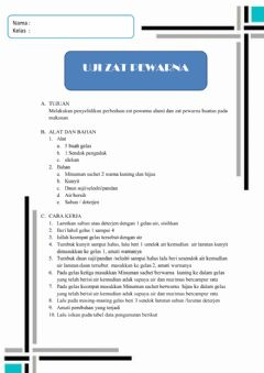 Interactive worksheet zat pewarna