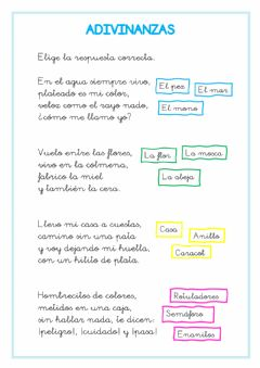 Interactive worksheet Adivinanzas