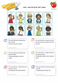Interactive worksheet Guess who verb to be
