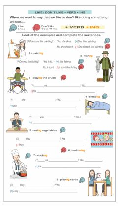 Interactive worksheet Like - don't like  with gerund