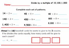 Interactive worksheet Divide by a multiple of 10,100,1,000
