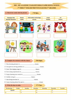 Interactive worksheet 5th Grade 1st Written Exam