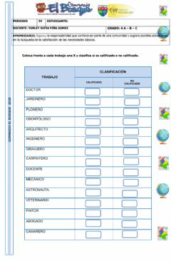 Interactive worksheet Tipos de trabajo
