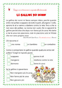 Interactive worksheet comprensione del testo le galline dei nonni