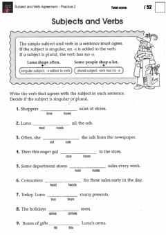 Interactive worksheet Subject and Verb Agreement - Practice 2