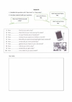 Interactive worksheet How much how many student b