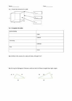 Interactive worksheet 3Dshapes and Pythagoras