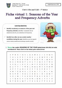 Interactive worksheet Weather conditions and seasons of the year
