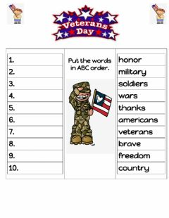 Interactive worksheet Veterans Day ABC order