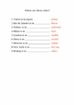 Interactive worksheet Where are these cities?