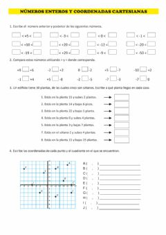 Interactive worksheet Números enteros y coordenadas cartesianas