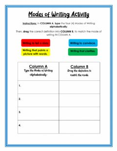 Interactive worksheet Modes of Writing