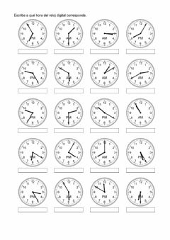 Interactive worksheet Relojes 3. De analógico a digital