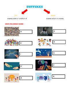 Interactive worksheet Suffixes -ity, -ment