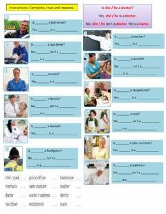 Interactive worksheet Simple Present 3rd person questions with BE