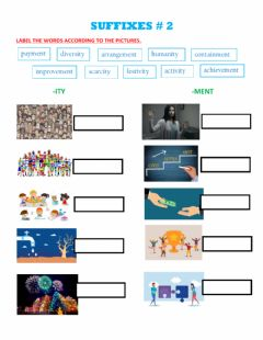 Interactive worksheet Suffixes -ity, -ment 2