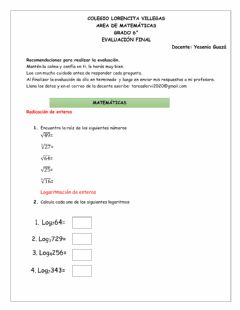 Interactive worksheet Evaluación final de matemáticas grado 6