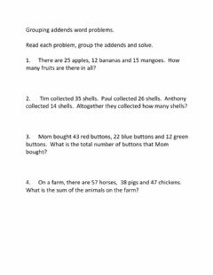 Interactive worksheet Grouping Addends Word Problems