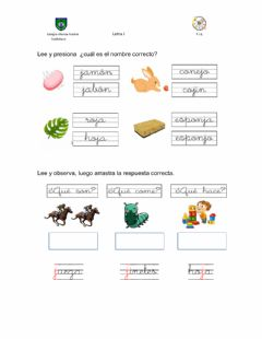Interactive worksheet Letra J