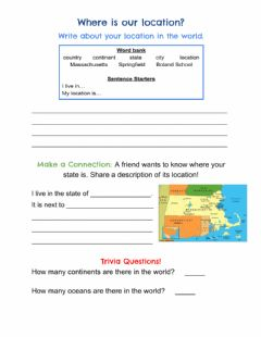 Interactive worksheet Describing Location