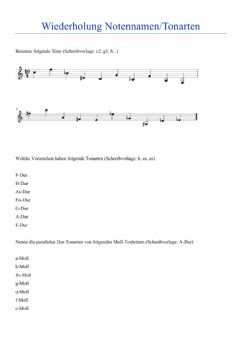 Interactive worksheet WH Notennamen, Tonarten