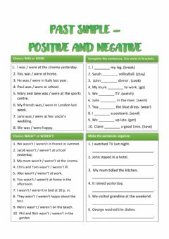 Interactive worksheet Past simple positive and negative