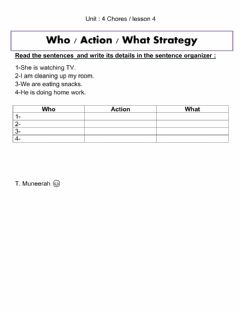 Interactive worksheet Chores unit 4 lesson 3 grammar