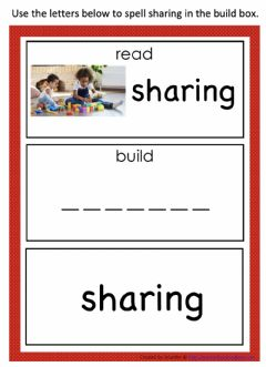 Interactive worksheet I cAn Read and Build the word sharing