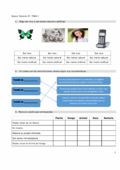 Interactive worksheet Repaso tema 1 naturales (3º)
