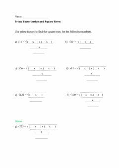 Interactive worksheet Square Roots and Prime Factors